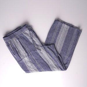 Old Navy Plus Size Blue Linen Blend Striped Pants